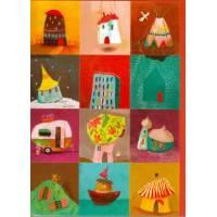 Carte double Izou rectangulaire 17 x 12 Home sweet Home