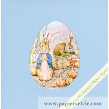 Carte double carrée Pâques Peter Rabbit au Jardin