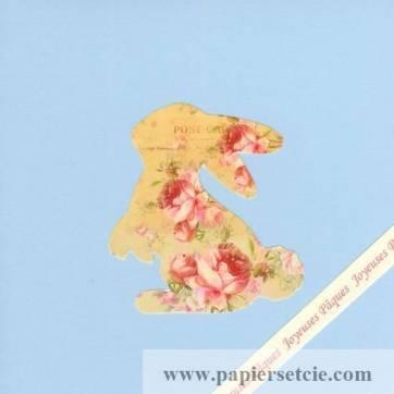 Carte double carrée Pâques Shabby chic Lapin et Roses
