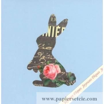 Carte double carrée Pâques Shabby chic Lapin noir et roses