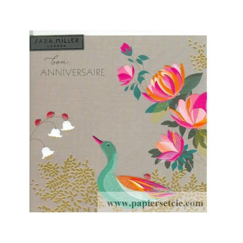 Favori Sara Miller Bon Anniversaire Canard et Fleurs LS76