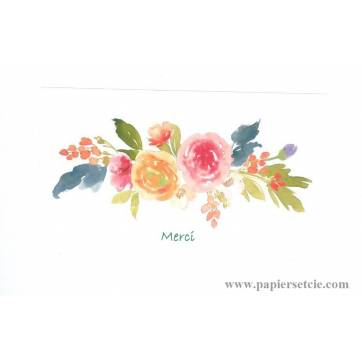 Carte Double Artisanale Merci Fleuri Rose
