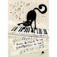 Carte double Happy Birthday Chat au piano