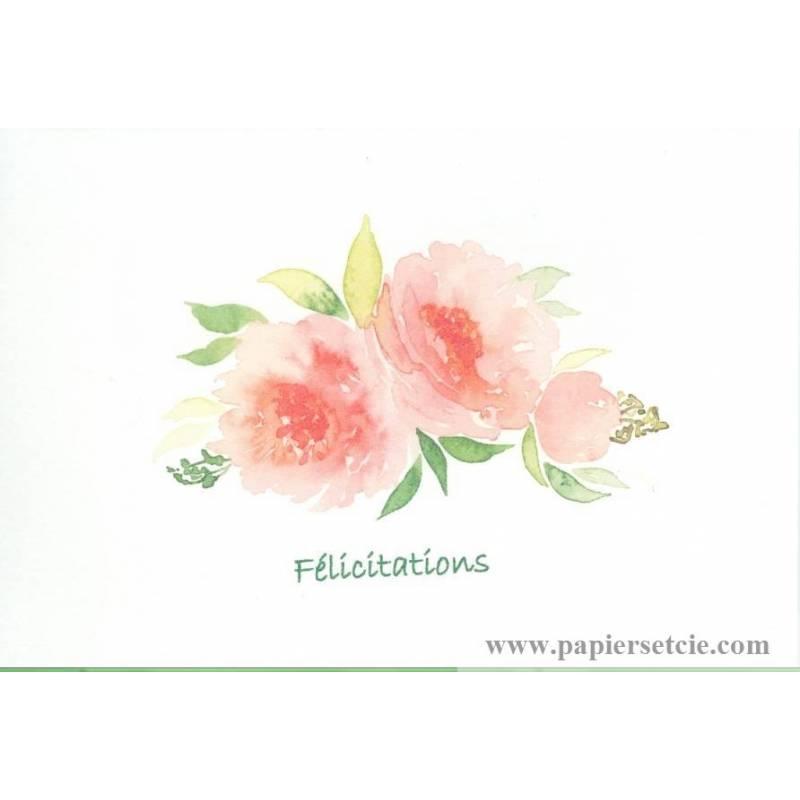 Carte aquarelle f licitations mariage ou faire part fleurs p che - Catalogue de fleurs gratuit ...