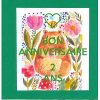 Carte double carrée Bon Anniversaire Deux Ans Ourson vert