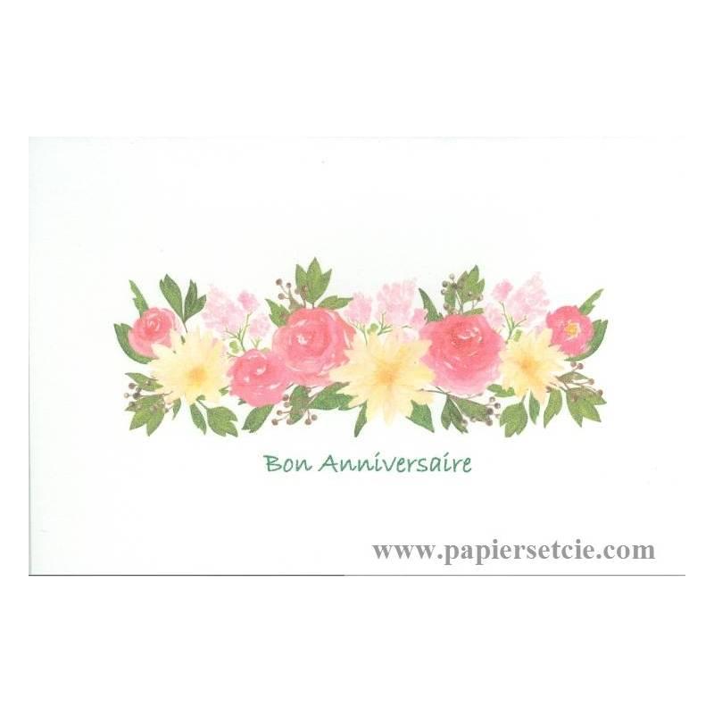 "Turbo aquarelle ""Bon Anniversaire"" Fleurs roses et jaunes GB32"
