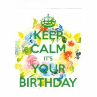 "Carte ""Keep Calm It's your Birthday"" Couronne de Fleurs"