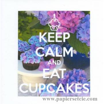 Carte Keep Calm and eat Cupcakes Hortensias