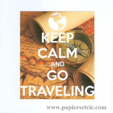"Carte ""Keep Calm and go traveling"" carte et boussole"