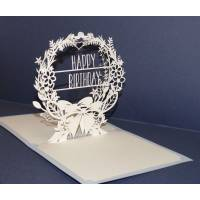 Carte Kirigami Happy Birthday Dentelle