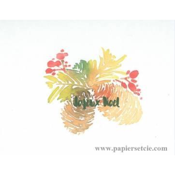 Carte artisanale simple aquarelle Joyeux Noël Branche sapin