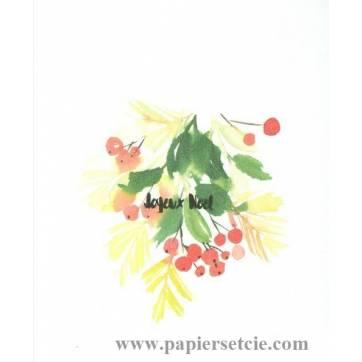 Carte artisanale simple aquarelle Joyeux Noël Branche baies rouges