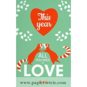 """Carte Alice de Page """"This Year all you need is love"""""""
