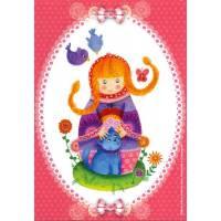 Carte Marie-Pierre Emorine Poupée russe et son petit Chat