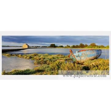 Carte format panoramique Frédéric Buxin Ile d'Arz, étang du Moulin