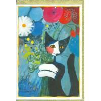 Carte double Rosina Wachtmeister Chat et Bouquet