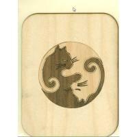 Carte en bois véritable, pyrogravée Chat blanc et Chat noir