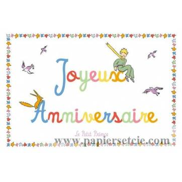 Carte Le Petit Prince Joyeux Anniversaire dans le ciel