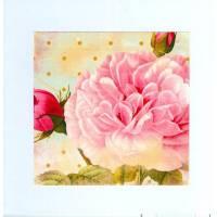 Carte artisanale double carrée  shabby chic petite rose