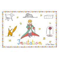 Carte Citation Le Petit Prince Invitation Les animaux et la fleur