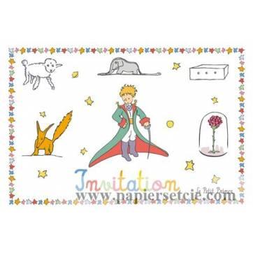 Carte Le Petit Prince Invitation Les animaux et la fleur
