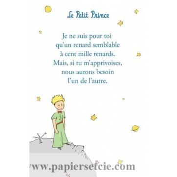 """Carte Le Petit Prince """"Je ne suis pour toi...""""Fond blanc"""