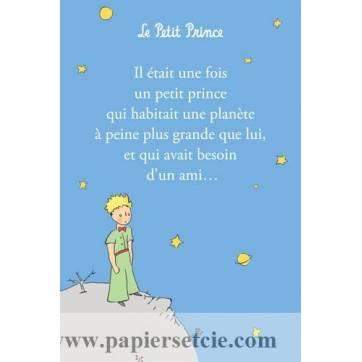 """Carte Le Petit Prince""""Il était une fois un Petit Prince"""" Fond bleu"""