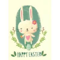 Carte artisanale simple Joyeuses Pâques Lapinette coeur