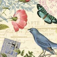 Carte vintage Alain Pelletier Oiseau bleu et fleur rouge