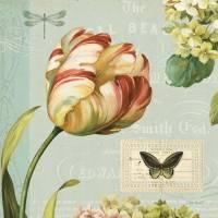 Carte vintage Lisa Audit Tulipes et Papillon
