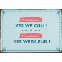 """Carte Citation Humour Vintage """"Yes we can! Yes Week-end!"""""""