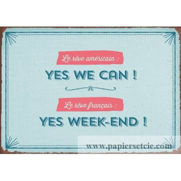"""Carte Humour Vintage Yes we can! Yes Week-end!"""""""