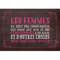 """Carte Humour Vintage  """"Les Femmes ne sont pas compliquées..."""""""
