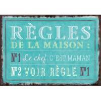 """Carte Humour Vintage """"Règles de la Maison"""""""