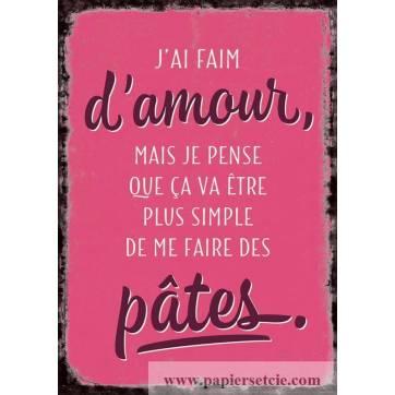 Carte Citation Humour Vintage J Ai Faim D Amour