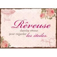 """Carte Citation Vintage """"Rêveuse cherche Rêveur pour regarder les étoiles"""""""