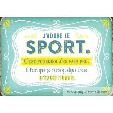 """Carte Humour Vintage """"J'adore le sport c'est pourquoi j'en fais peu..."""""""