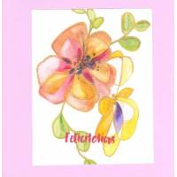 Carte double carrée artisanale Félicitations Aquarelle Fleur rose fond rose