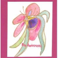 Carte double carrée artisanale Bon Anniversaire Aquarelle Orchidée rose fond fushia