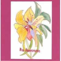 Carte double carrée artisanale Bon Anniversaire Aquarelle orchidée jaune fond fushia