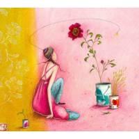 Carte double Gaelle Boissonnard  14 x 15,5 La robe et la fleur roses