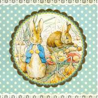 Carte d'art Gwenaëlle Trolez Peter Rabbit dans le verger