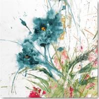 Carte vintage Jan Griggs Fleurs bleues