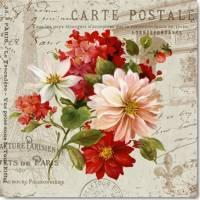 Carte vintage Lisa Audit Hortensias et Fleurs jaunes
