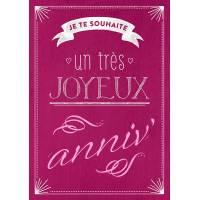 """Carte Citation Humour Vintage """"Je te souhaite un très joyeux Anniv!"""""""