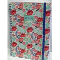 "Cahier LEGAMI A4 ""Be Happy"" Coquelicots 200 pages"