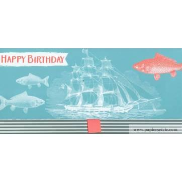 "Enveloppe cadeau ""Happy Birthday"" Voilier"