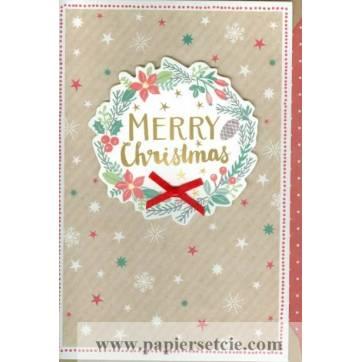"Carte double "" Merry Christmas"" Couronne de Noël"