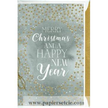 """Carte double """"Merry Christmas and Happy New Year"""""""