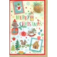 "Carte double ""Merry Christmas"" lenticulaire Les chouettes"